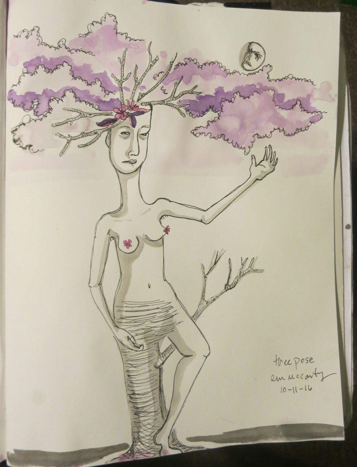 INKtober day eleven–tree pose